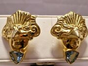 Modernist Masquerade Face Earrings By Jaclyn Davidson 18k Gold Aaa Aquamarine