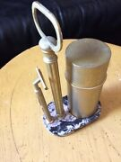 Vintage Estee Lauder Jhl Marble And Brass Shaving Set Stand And Razor Made In Italy