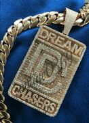 2.5 Ct Round Men's Custom Dog Tag Name Pendant In 14k Yellow Gold Plated Silver