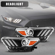 For 15-17 Ford Mustang Headlights Projector Front Aftermarket Lamps Black/clear