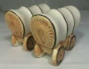 Vintage Victoria Ceramics Japan Western Covered Wagon Salt And Pepper Shakers