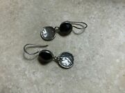Rare Silpada Round Faceted Garnet Earrings Discs French Wires W1751 Htf Smoky