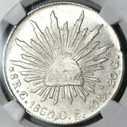 1860-c Ngc Ms 64 Mexico 8 Reales Culiacan Mint State Silver Coin 20030801c