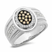 Mens 14k Gold White Champagne Diamond Oval Ring Wedding Right Hand Natural .67ct