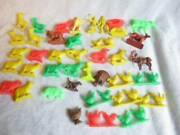 Vintage 38 Plastic Farm Animals Horses Dogs, Pigs, Cows Chickens And 2 Indians