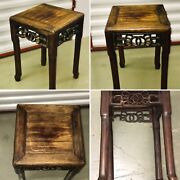 🌟antique Padouk Oriental Wooden Side Table Plant Stand Tall Ornate Chinoiserie