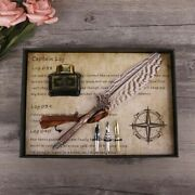 Antique Quill Feather Dip Pen Writing Ink Set Stationery Fountain Pens Gift Box