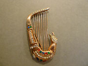 Rare 1947 Morris Paschman Museum Quality Sterling And Rhinestone Harp Brooch / Pin