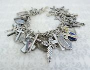 Amazing 112 Gm 40 Charm Christian Cross Medals Charms Sterling Silver Bracelet