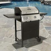 Dyna-glo 2-burner Gas Grill In Stainless Steel And Black With Side Burner