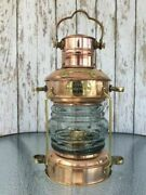 Brass And Copper Anchor Oil Lamp Nautical Maritime Ship Lantern Boat Light