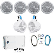 4 Rockville Rmc80w 8 1600w Marine Boat Speakers+8 Wakeboards+6-ch Amp+wire Kit