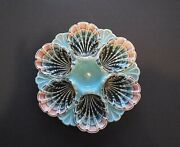 Antique Fives-lille Majolica Oyster Plate Grey/green Pink Turquoise France