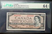 Canada 100 Dollars 1954 Year P-72a Bc-35a Unc Deviland039s Face Pmg64epq
