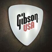 Gibson Guitars Plectrum Light Up Led Wall Sign Music Studio Instrument Acoustic