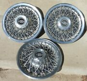 Set Of 3 1977 Buick Riviera 15 Inch Spoke Stainless Steel/chrome Hub Caps