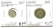 1849 - 1849 - German - 2 Coin Lot - Diff Values - Nice Coins
