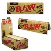 Full Sealed Box/ 50 Packs Raw Single Wide Classic Cut Corners Rolling Papers