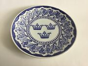 Antique Blue And White Plate By Gustafsberg,sweden 1897 Three Crowns,the Symbol