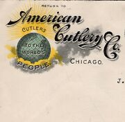 Color American Cutlery Co Globe Logo More On Back Chicago 1910 Cover 9q