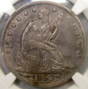 1853 Liberty Seated Half Dollar Extrmly Rare Fs-803 Double Die Reverse Ngc Xf 40