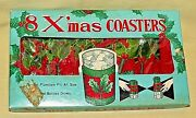 Christmas Coasters Set 8 Vintage Elpo 3310 Terry Cloth Cover Knit Holly Nos Mcm.