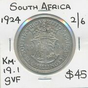 South Africa 1924 George V Silver Half Crown Km-19.1 Gvf