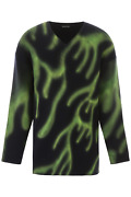 New Balenciaga Flame Print Sweater 599685 T1555 Navy Green Authentic Nwt