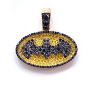 Menand039s Bacardi Logo Pendant In 1 Ct Round Yellow Canary And Black Sim Dia In Silver