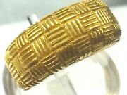 Heavy 18k Yellow Gold Vector Seamless Weave Pattern Etch Dome Ring..6.75 7.6gm..