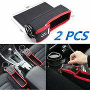 2x Universal Car Seat Gap Storage Organizer Pu Leather Coin Collector Blackand Red