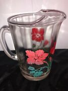 Bartlett Collins Pitcher Jug Gay Fad 3.5 Cup Gay Fad Red Flower Hibiscus