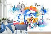 3d Watercolor Bicycle Zhua042 Wallpaper Wall Mural Removable Self-adhesive Amy