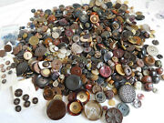 Large Lot All Shades Brown Tan Vintage Buttons Glass Plastic Leather Wood 1200+