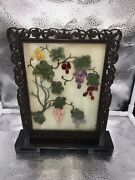 Antique Chinese Oriental Decorative Jade Table Screen With Wood Stand.