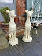Large Cast Iron Dog Sculptures - Matching Pair - White Painted Finish 90 Cm Tall