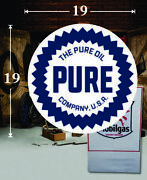 19 X 19 Pure Oil Company Shield Gas Vinyl Decal Lubester Oil Pump Can Lubster