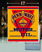 19 X 17 Penn Wave Motor Shield Gas Vinyl Decal Lubester Oil Pump Can Lubster