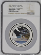 2002 Cook Islands 10 Silver 10oz Battle Of The Coral Sea Ngc Pf69uc Colorized A