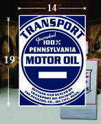 19 X 14 Transport Penn Shield Gas Vinyl Decal Lubester Oil Pump Can Lubster