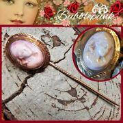 Solid 10k Gold Antique Angel Skin Cameo Stick Pin Estate Jewelry Buy-out
