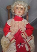 Mrs Claus Animated Christmas 18 Inch Electric Rocking Chair Santa's Best Knit