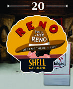 20 Pair Of Shell Gasoline Reno Gas Vinyl Decal Lubester Oil Pump Can Lubster