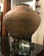 Antique Primitive Pre-columbian Style Pottery Vase On Iron Stand