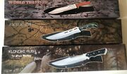 Set Of 3 Knives. Frost Cutlery All 15 1/2 Inch Satin Blade. Brand New. W/sheath