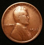 1922 No-d Lincoln Wheat Cent / Strong Revers
