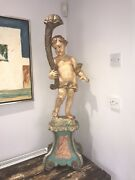 A Stunning Early 20thc Italian Putti Lamp Base Polychrome Paint And Glass Eyes