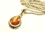 Vintage Sterling Silver 925 Art Glass Gold Glitter Pendant With Necklace 18