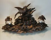 Beautiful Antique European Black Forest Desk Set/inkwell Hand Carved Birds 18 In