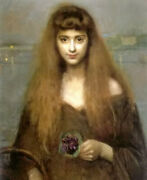 Oil Painting Louis Picard - The Violet Seller Nice Girl With Flowers At Night